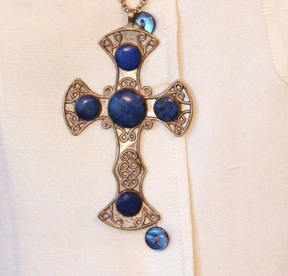 Vintage Cross Pendant with Lapis Lazuli from Afghanistan-Courtesy Chain