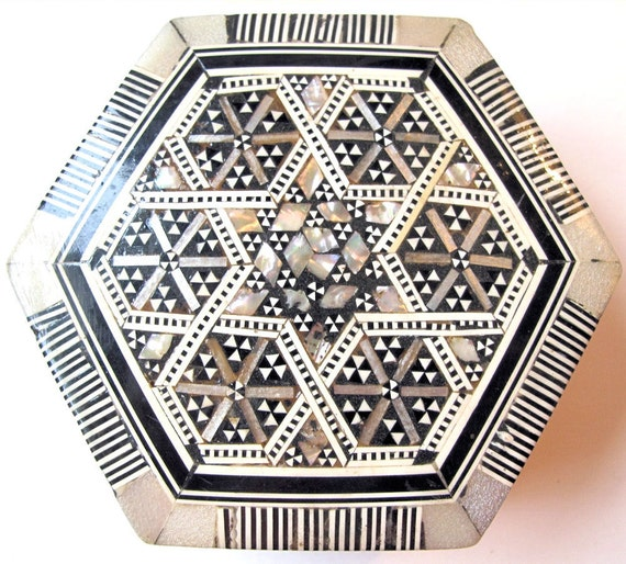 Vintage Intricate Mother of Pearl Inlaid  Wooden Box from Iran