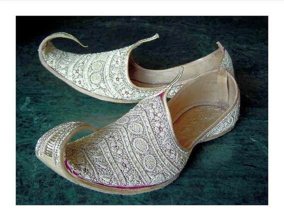 Vintage Wedding Slipper Shoes-Khussas-from Pakistan with White Embroidery over Leather
