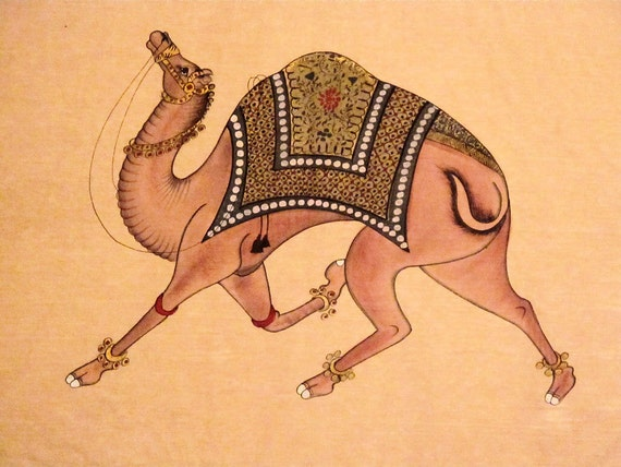Camel Silk Painting,Wall Tapestry, Wall Hanging by the Old Silk Route