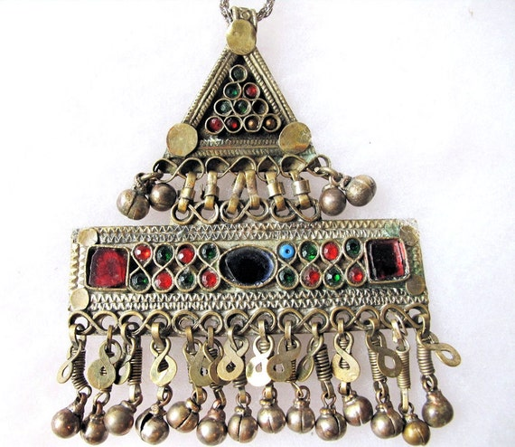 VintageTribal Medallion Pendant with Dangles and Bells from Afghanistan-Reserved for Blain