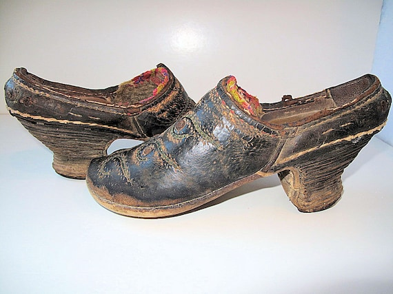 Vintage Clogs, Shoes from Central Asia,Totally Hand Crafted Leather Uppers and Wooden Heel