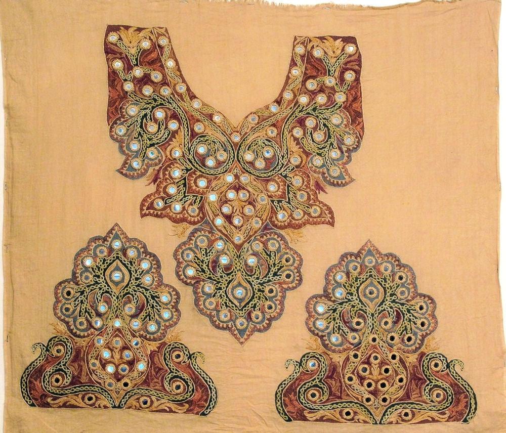 Kashmiri hand embroidery textile yoke and cuffs blouse parts