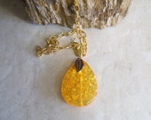Gold chain necklace - natural tree amber resin pendant