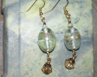 Dangle Earrings - Vintage Beads and Smokey Quartz