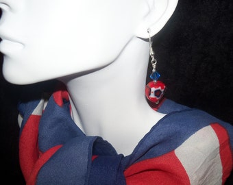Red white and blue earrings - Swarovski crystals