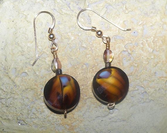 Crystal Drop Earrings -  Gold Crystals - Golden Rosebud Earrings