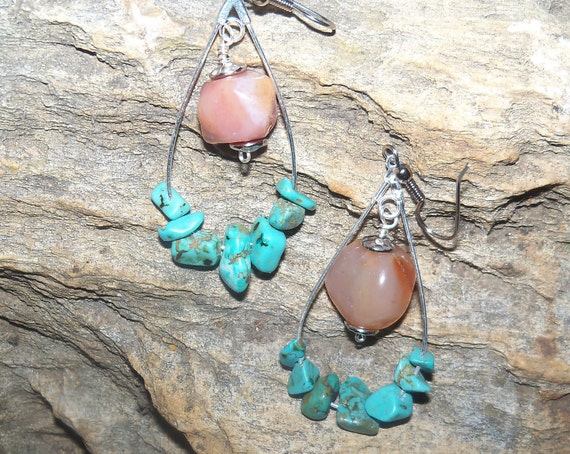 Turquoise hoop earrings - peach stones - RESERVED FOR SONJA