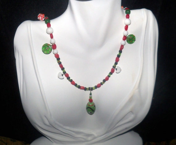 Long red and white necklace -  red, white and green