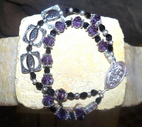 Purple Rosary Bracelet - Faith Hope and Love - February Birthday