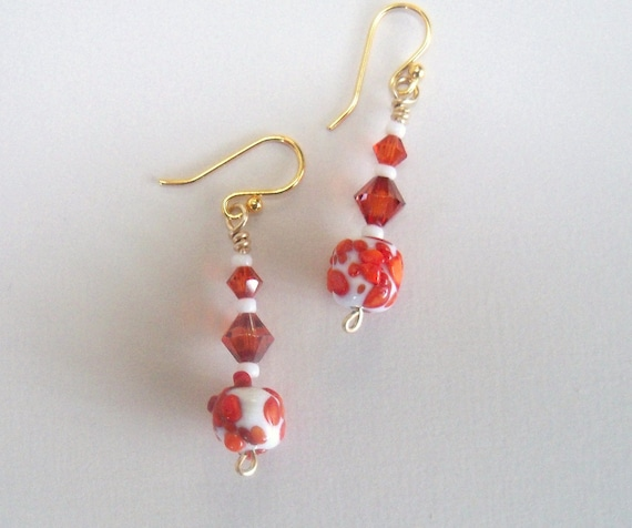 Red dangle earrings - Indian red and white beads