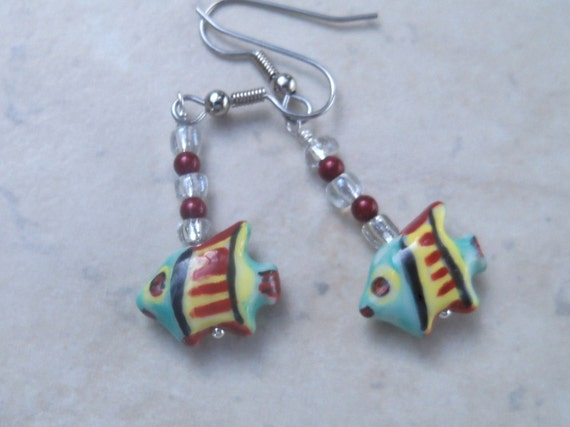 Dangle fish earrings - blue and red  tropical fish