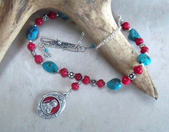 Turquoise and Coral Necklace - Sacred Heart of Jesus