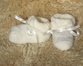 Hand knitted Baby cream christening Booties / shoes, by scunjeebabe
