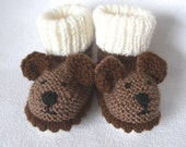 Charlie Brown Bear, Baby Booties  - hand knitted to order  by scunjeebabe