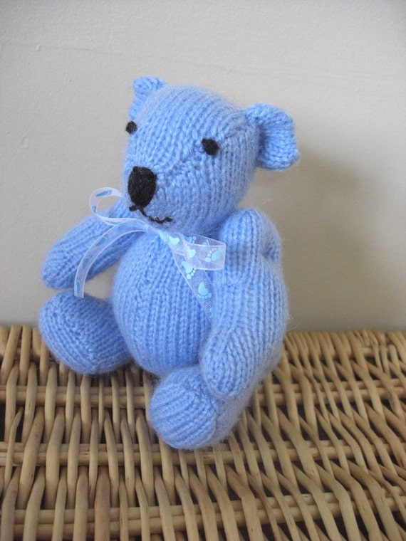 Baby Boy, jointed pale blue teddy bear, hand knitted by scunjeebabe