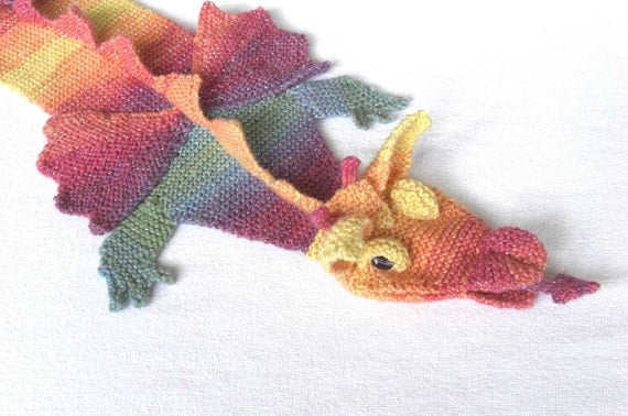 Hand Knitted Childs Magical Dragon Rainbow Scarf , made to order by scunjeebabe