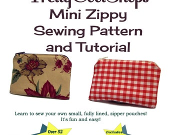 zipper pouch pattern and tutorial, PDF, small pouch pattern, sewing pattern, coin purse pattern, coin purse tutorial,