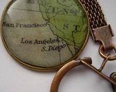 Los Angeles, San Francisco, SanDiego Antique Map Keyring - Gifts for Men, Husband, Boyfriend, Brother, Travel Lovers