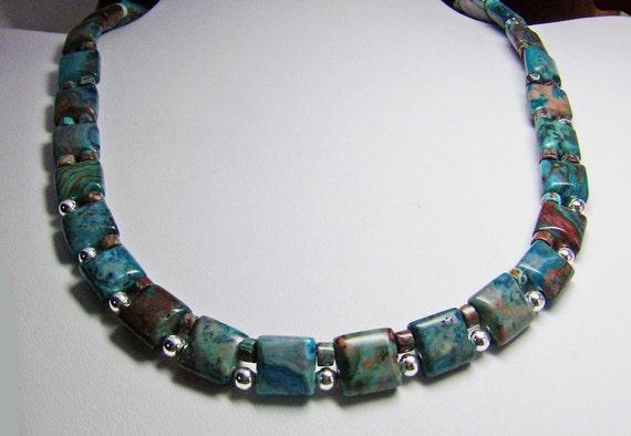 Blue Square Crazy Lace Necklace