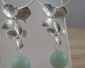 BLOSSOM silver orchid hoop earrings with blue amazonite