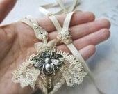 Queen Bee Cream Victorian Lace Pendant