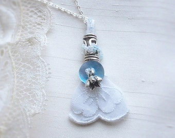 Bride Luck Vintage Lace Pendant, old new borrowed blue