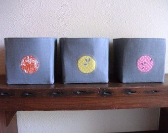 Set of three -- Hope Valley fabric organizer storage container basket bins - Ready to Ship