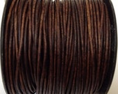 1.5 mm - 32.80 ft. Genuine leather round cord - Natural Red Brown (10 Meters) A Quality