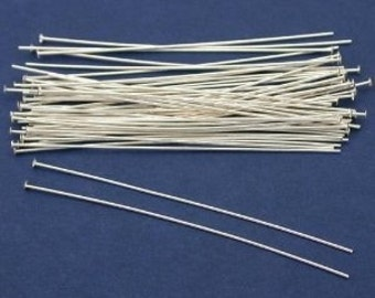 20 pcs. of 22 Gauge 2 inch .925 Sterling Silver Head Pins (BH)