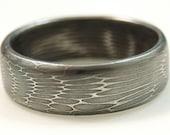 """Damascus Steel Wedding Ring   SIZE: 8-12  """"web"""" Pattern Ring"""