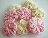 Crochet Flowers - Small Pink & Cream - 8
