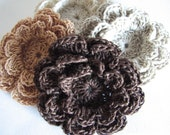 Crochet Flower Appliques - 4 Three Layer Thread Flowers