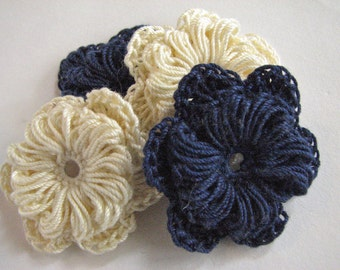 Crochet Flowers - Two Layer Navy  Blue & Cream- 4
