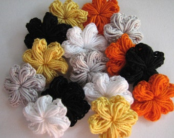 Small Crochet Flowers - Halloween Colors - Puffy Style - 15