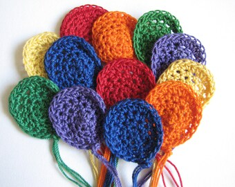Crochet Balloon Appliques - Pretty, Bright Colors - 12
