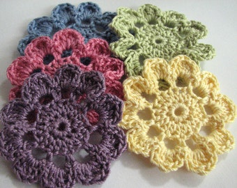 Crochet Flowers - Bright Spring Colors - 5 Total