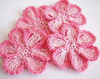 Crochet Flower Pattern Thread : Items similar to Small Thread Crochet Flowers - Mixed ...