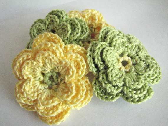 Crochet Yellow Flower Pattern : Crochet Flowers 3 Layer Green & Yellow 4