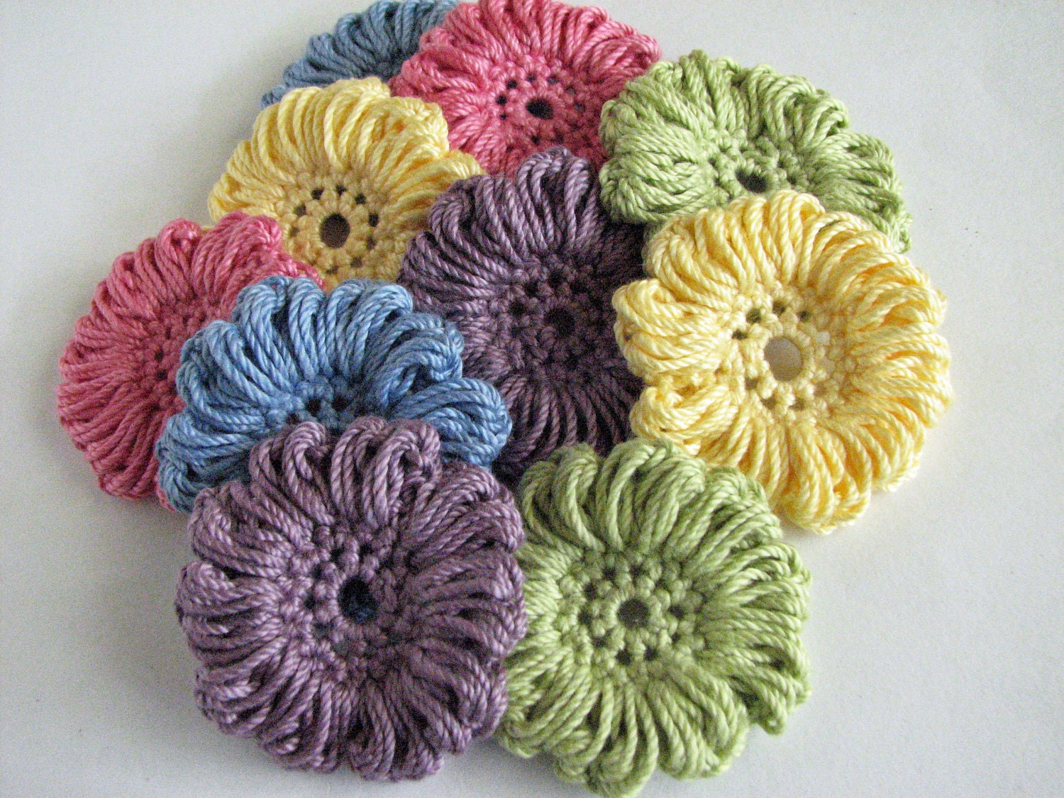 Crochet Thread Flowers 10 Large Flower Appliques