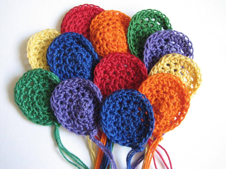 crochet balloon appliques pretty bright colors 12. Black Bedroom Furniture Sets. Home Design Ideas