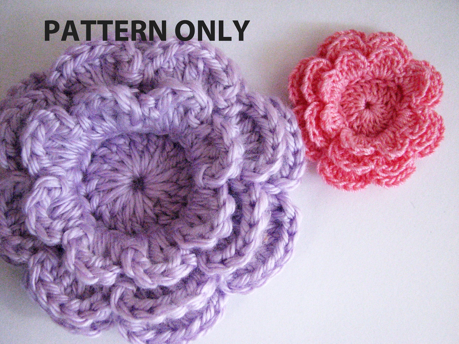 Crochet Flower Pattern Three Layer Flower with 8 Petals