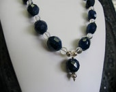 Amazing DEEP BLUE Quartz and Clear Crystal Quartz necklace with sterling silver - midnight blue navy dark