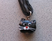 Lampworked Glass BLACK CAT Pendant necklace - Kitty Kitten