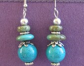 TURQUOISE dangling Earrings - semiprecious gemstones - sea foam green Stone of Peace & healing