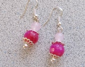Fuschia & Rose Quartz dangling Earrings - pink agate natural rose quartz gemstone with Sterling Silver accents and hooks