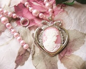 Romantic Lady Pink Cameo Necklace and Earring set - Pink glass pearls rhinestones and crystals heart shaped bling pendant