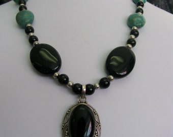 Stunning Black Onyx TURQUOISE Blackstone and Sterling Silver necklace with pendant