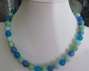 Waterfall Quartz Necklace beautiful hues of blues and greens