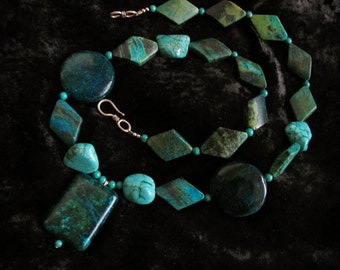 Blue and Yellow Green TURQUOISE long necklace semiprecious gemstones